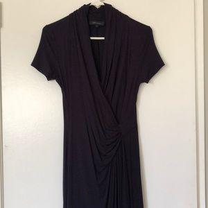 Karen Kane Cascade Faux Wrap Navy Blue Dress